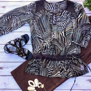Tops - Sheer Fashionable Tunic or Blouse with Drawstrings